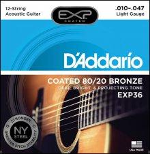 Струны D'Addario EXP36 80/20 Bronze 12-str.